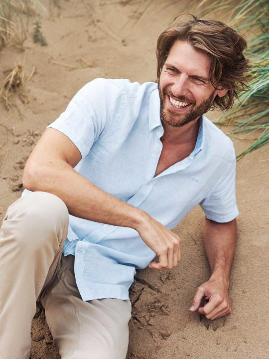 Raging Bull - Short Sleeve Stripe Shirt - Sky Blue