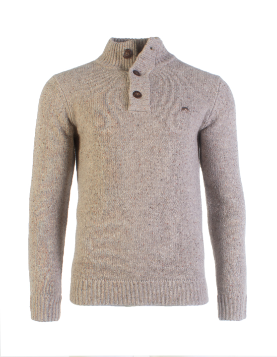 Raging Bull - Button Neck Plain Knit - Vanilla