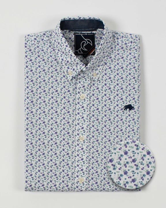Raging Bull - Big & Tall Long Sleeve Micro Floral Shirt - Purple