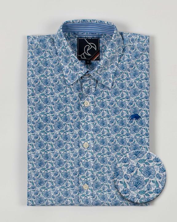 Raging Bull Big & Tall Long Sleeve Ditzy Floral Shirt - Sky Blue