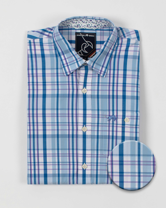 Raging Bull - Big & Tall Long Sleeve Check Shirt - Sky Blue
