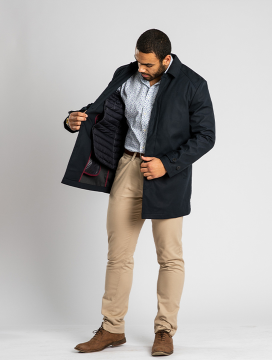 model wearing high quality navy rain mac