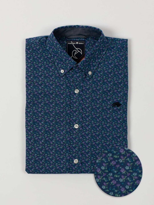 Raging Bull - Big & Tall Short Sleeve Lavender Print Shirt - Navy