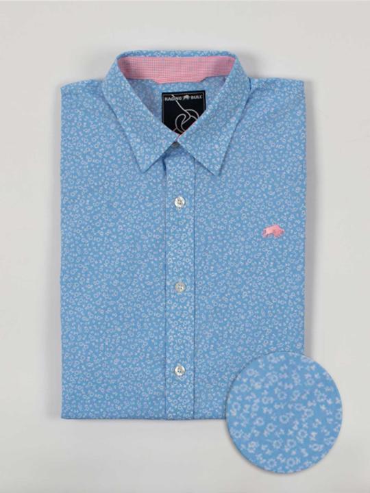 Raging Bull - Big & Tall Short Sleeve Micro Daisy Print Shirt - Sky Blue