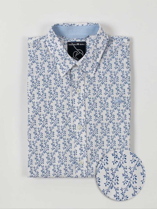 Raging Bull - Big & Tall Short Sleeve Spring Leaf Print Shirt - Cobalt