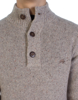 Raging Bull Big & Tall Button Neck Plain Knit - Vanilla