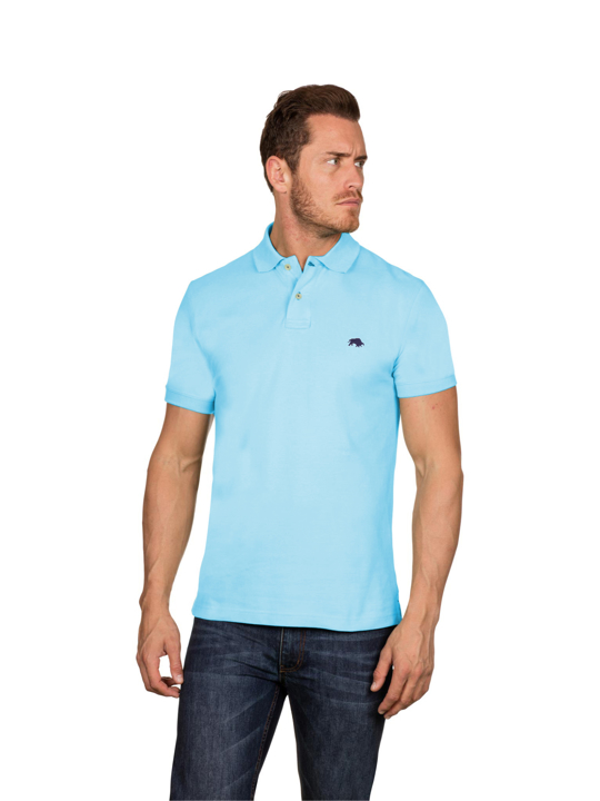 model wearing high quality slim fit sky blue polo shirt
