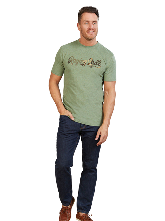 Model wearing Green Camo Script Tee