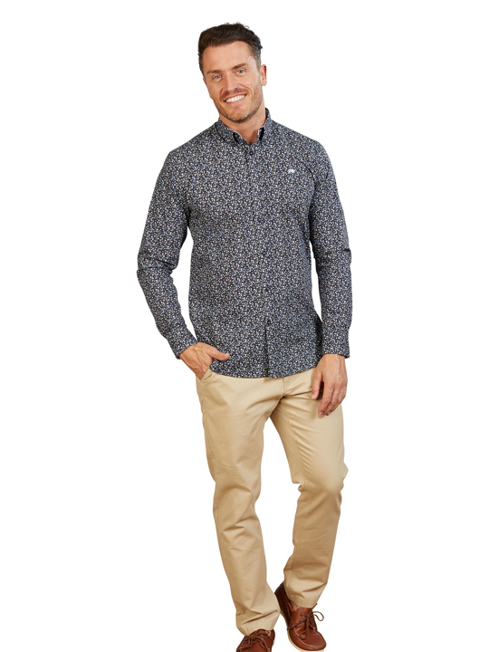 Raging Bull - Long Sleeve Floral Print Poplin Shirt - Navy