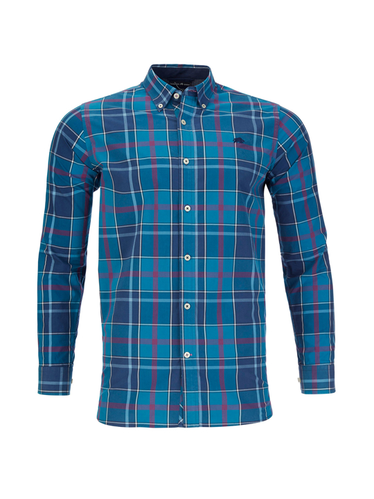 Raging Bull - Long Sleeve Large Check Poplin Shirt - Navy