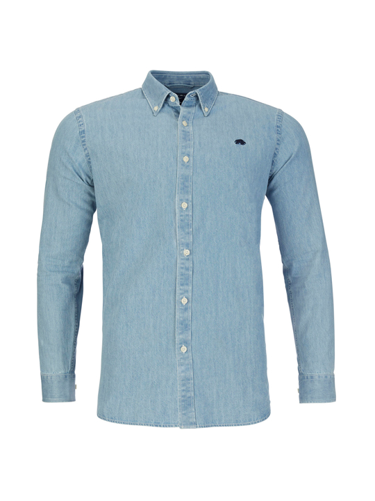 Raging Bull - Long Sleeve Light Washed Denim Shirt - Denim