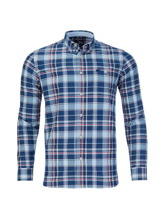 Raging Bull - Long Sleeve Overcheck Oxford Shirt - Mid Blue