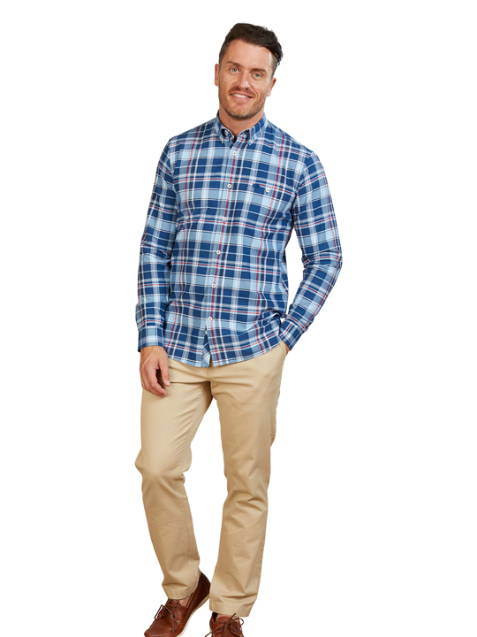 Raging Bull - Long Sleeve Overcheck Oxford Shirt - Mid Blue