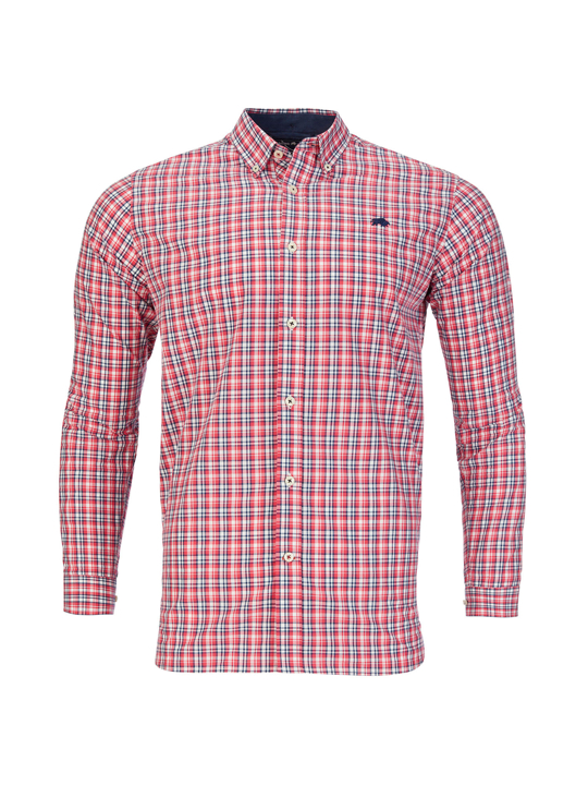 Raging Bull - Long Sleeve Multi Check Shirt - Vivid Pink