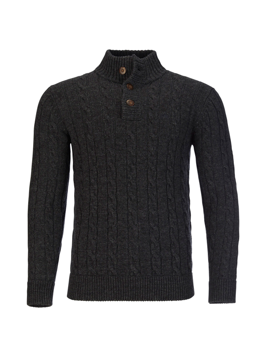 Raging Bull - Button Neck Cable Knit - Dark Grey