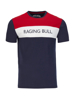 A red, white and blue T-shirt with Raging Bull slogan