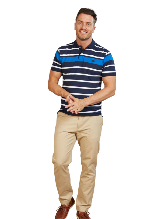 Blue and white striped polo top
