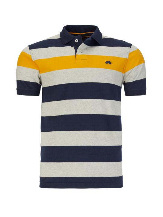 Raging Bull - Irregular Stripe Jersey Polo - Navy