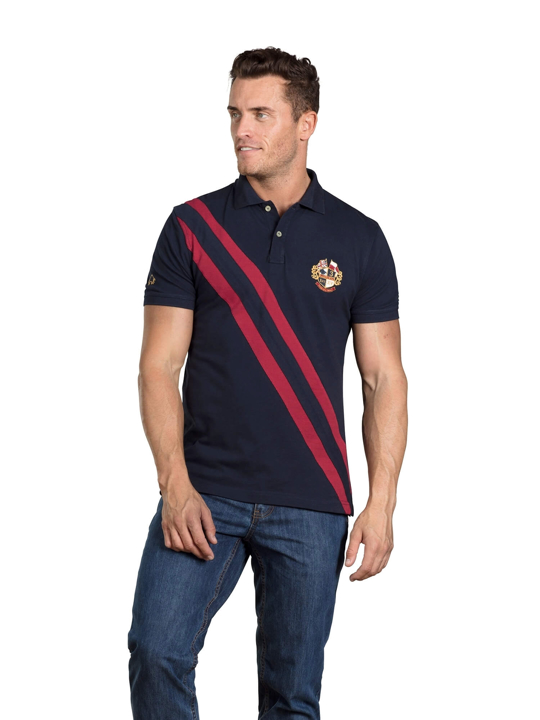 Raging Bull - Diagonal Stripe Pique Polo - Navy