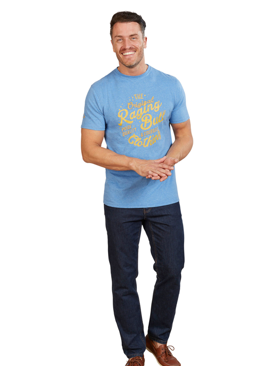 Pale Blue T-Shirt with yellow script writing