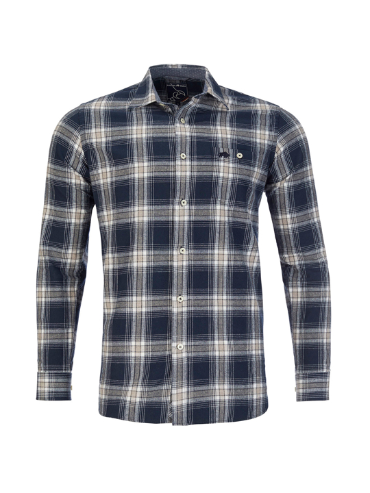 Raging Bull - Long Sleeve Check Brushed Twill Shirt - Navy