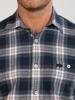 Raging Bull Long Sleeve Check Brushed Twill Shirt - Navy