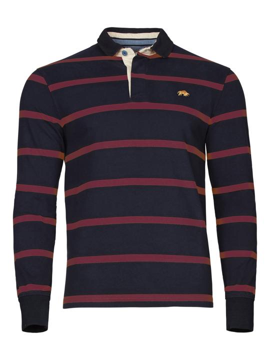Raging Bull - Big & Tall Long Sleeve Stripe Rugby - Claret