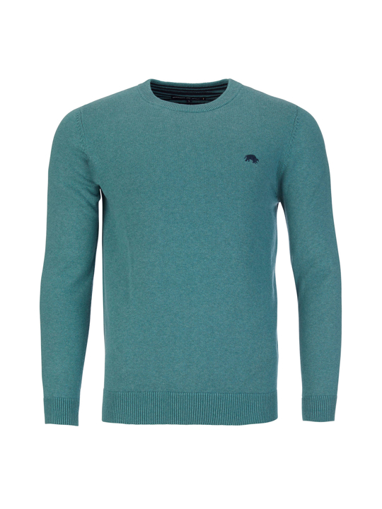 high quality green crew neck jumper