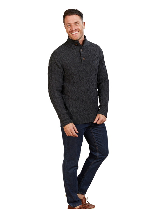 Raging Bull - Big & Tall Button Neck Cable Knit - Dark Grey