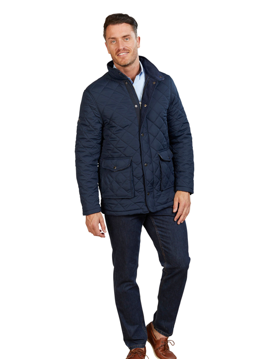 high quality navy quilted jacket