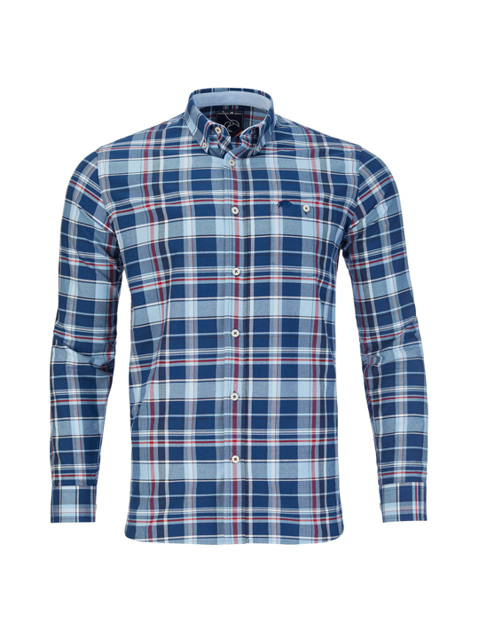 Raging Bull - Big & Tall Long Sleeve Overcheck Oxford Shirt - Mid Blue