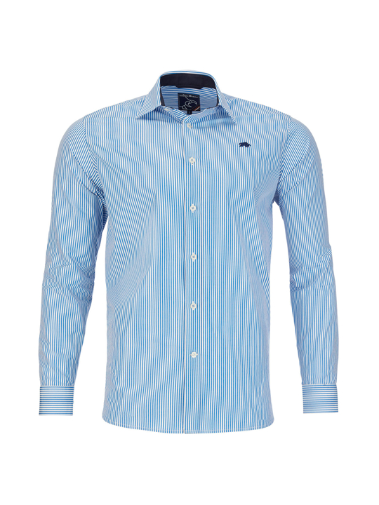Raging Bull - Big & Tall Long Sleeve Bengal Stripe Poplin Shirt - Mid Blue