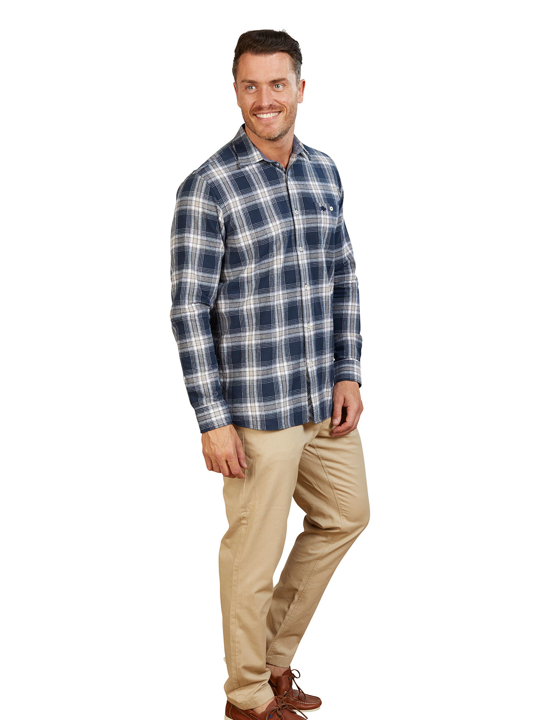 Raging Bull - Big & Tall Long Sleeve Check Brushed Twill Shirt - Navy