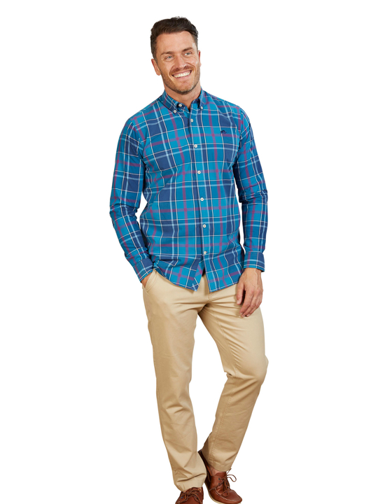Raging Bull - Big & Tall Long Sleeve Large Check Poplin Shirt - Navy