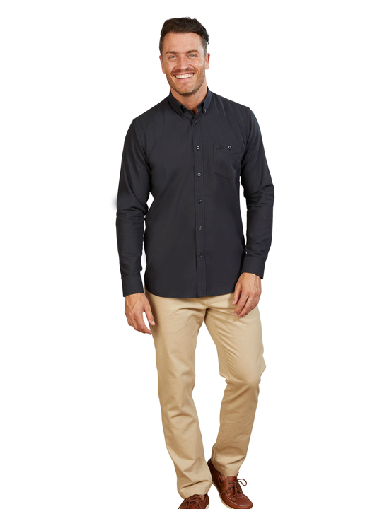 Raging Bull - Big & Tall Long Sleeve Ottoman Weave Shirt - Black