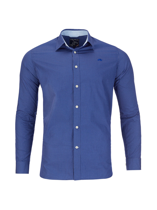 Raging Bull - Long Sleeve Polka Dot Print Shirt - Mid Blue