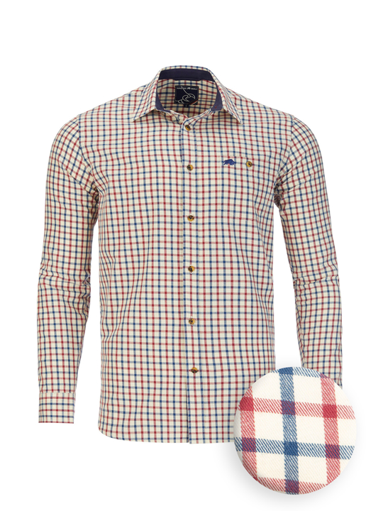 Raging Bull - Long Sleeve Tattersall Check Shirt - Cream