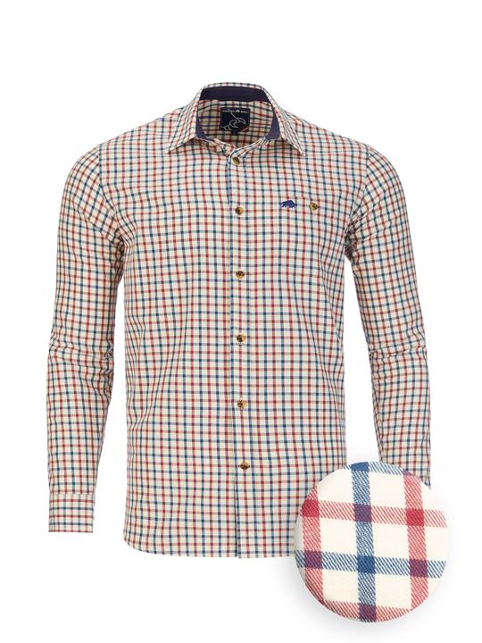 Raging Bull - Big & Tall Long Sleeve Tattersall Check Shirt - Cream