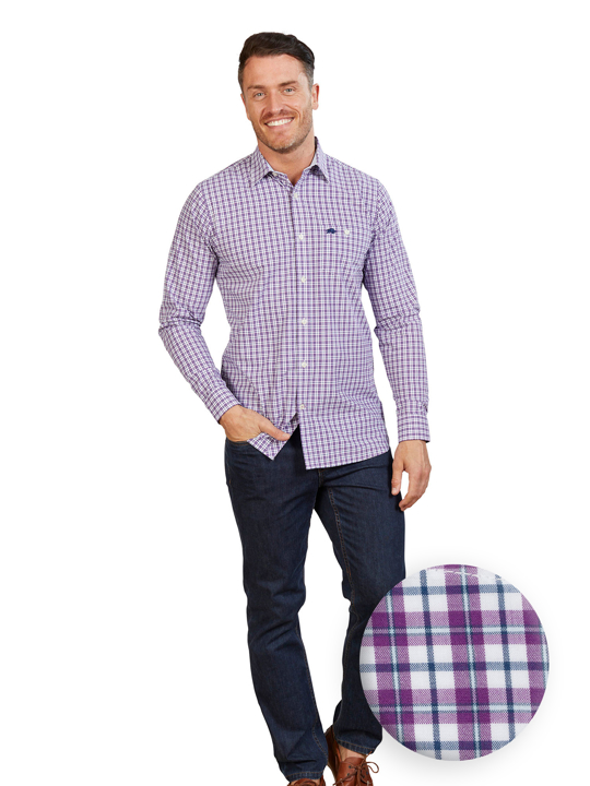 Raging Bull - Long Sleeve Multi Gingham Shirt - Purple
