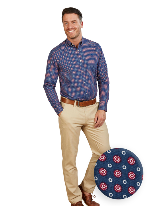 Raging Bull - Big & Tall Long Sleeve Multi Circle Print Shirt - Navy