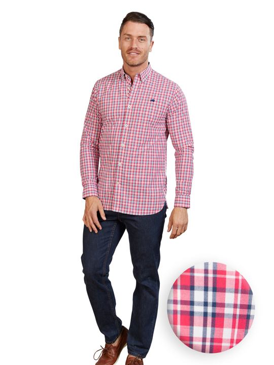 Raging Bull - Big & Tall Long Sleeve Multi Check Shirt - Vivid Pink