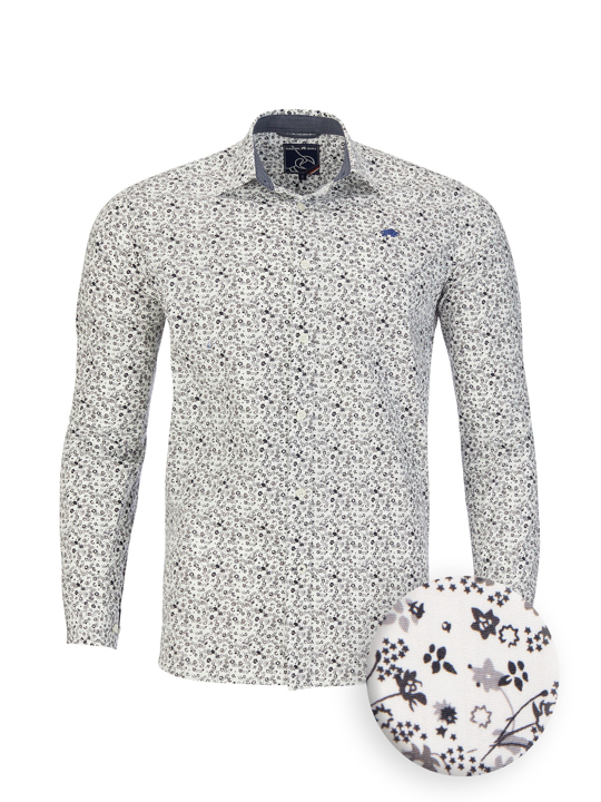 Raging Bull - Long Sleeve Floral Print Poplin Shirt - White