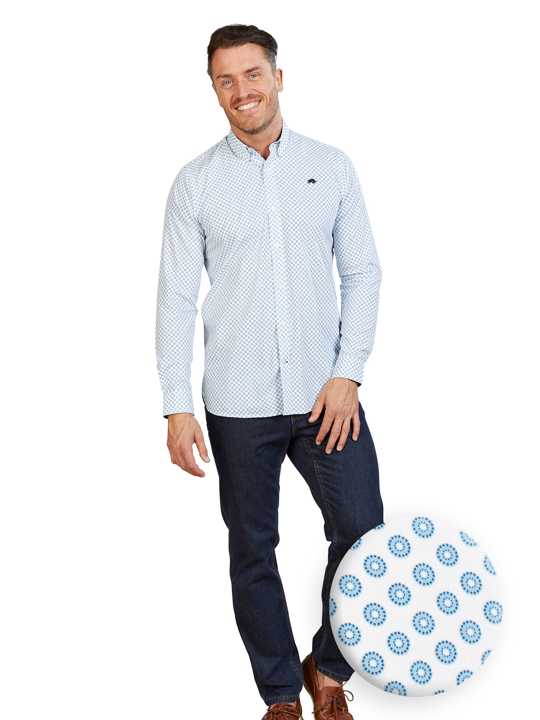 Raging Bull - Long Sleeve Circle Geo Poplin Shirt - White