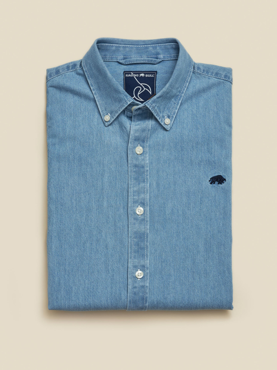 Raging Bull - Big & Tall Long Sleeve Light Washed Denim Shirt - Denim