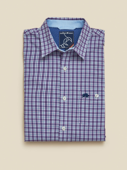 Raging Bull - Big & Tall Long Sleeve Multi Gingham Shirt - Purple