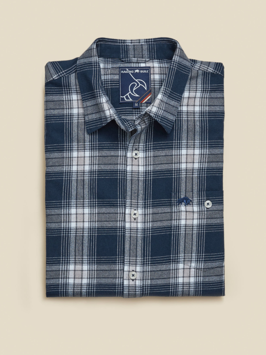 Raging Bull - Long Sleeve Check Brushed Twill Shirt - Navy