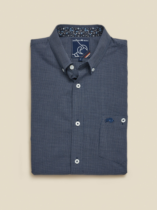 Raging Bull - Big & Tall Long Sleeve Geometric Dobby Shirt - Navy