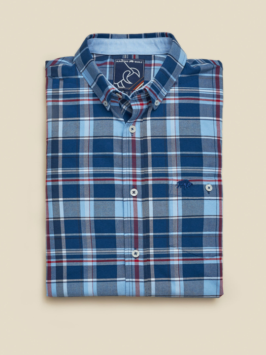 Raging Bull - Big & Tall Long Sleeve Overcheck Oxford Shirt - Mid Blue