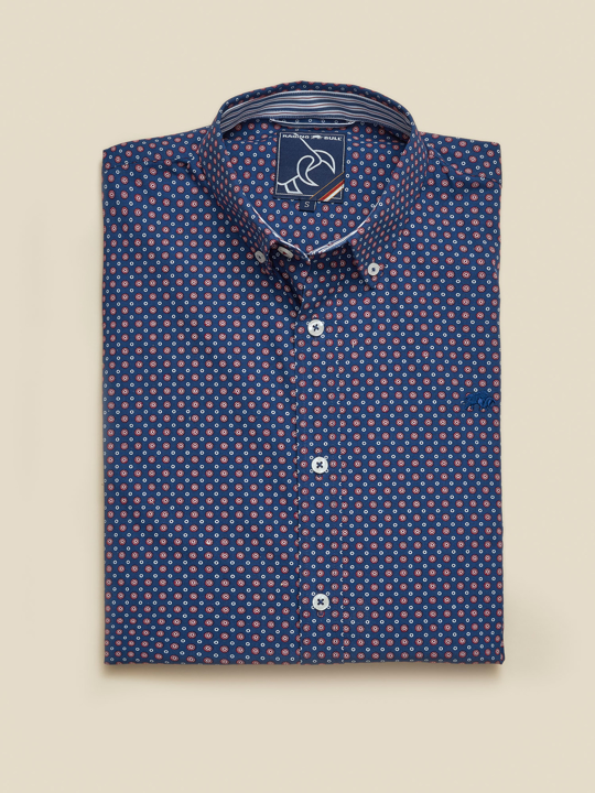Raging Bull - Long Sleeve Multi Circle Print Shirt - Navy