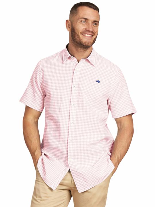 Raging Bull - Big & Tall Short Sleeve Linen Look Gingham Shirt - Pink